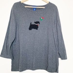 Karen Scott Grey Christmas Yorkie Mistletoe Blouse